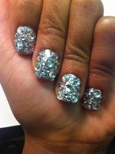 We love nail polish, nail art, and anything to do with nails! Love Nails, How To Do Nails, Fun Nails, Pretty Nails, Rhinestone Nails, Bling Nails, Bling Bling, Glitter Nails, Jewel Nails