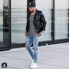 29ef2ba73b Biker jacket + Longline + Denim + White Chucks = my spring uniform. Now if  … - Men's Fashion Guide