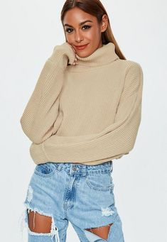 a31d50d95 Missguided - Sand High Neck Balloon Sleeve Cropped Jumper