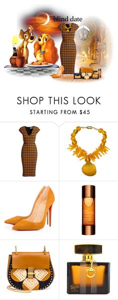 """""""Blind Date: Lady and the Tramp"""" by bellastruckman ❤ liked on Polyvore featuring Victoria Beckham, Ugo Correani, Christian Louboutin, Clarins, Chloé, Gucci, NARS Cosmetics, outfit, colorful and blinddate"""