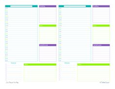Daily Planner Printable half page