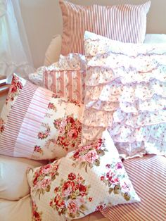Shabby Chic Pillows- red and pink floral with red stripes and ticking, eyelet lace