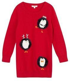 bluezoo Girls' red penguin Christmas jumper