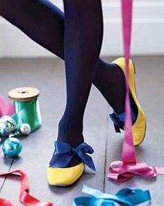 Tie a ribbon around your feet and then slip on some flats to one-up a simple look. | 31 Creative Life Hacks Every Girl Should Know