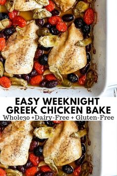 I really liked this (JL did not love olives) -SB Easy Weeknight Greek Chicken Bake - throw everything in a pan and be done! So simple and so delicious! Paleo, Dairy-Free and Gluten-Free! Dairy Free Recipes, Paleo Recipes, Gourmet Recipes, Real Food Recipes, Cooking Recipes, Gluten Free, Dinner Recipes, Dinner Ideas, Walnut Recipes