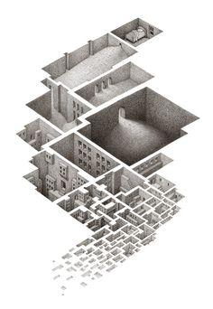 Hypnagogic City,  Pigma Micron 005 on Paper, 2002  mathewborrett.com/