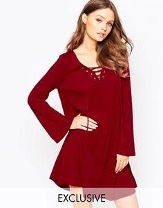 Glamorous Lace Up Swing Dress