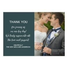 #Emerald Green Formal Wedding Thank You Card - #wedding gifts #marriage love couples