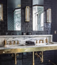 Another look at dramatic master bath with our Brasserie sconces, R. Atlas faucets and washstand. Waterworks Bathroom, Luxury Bathroom, Bathroom Faucets, Bathrooms Remodel, Small Rustic Bathrooms, Bathroom Design, Beautiful Bathrooms, New Toilet, Rustic Bathroom Remodel