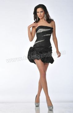 Black Ruched & Beaded Taffeta Strapless Drop Waist Homecoming Dress