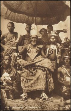 """ghana coast 1902 - Ewe """"chief"""" in """"full regalia"""". Africans did not have the same concept of a chief since they lived a cooperative life style according to modern scholars. This was something they developed in response to colonization. African Tribes, African Diaspora, African Culture, African American History, Ghana, Ashanti People, Black King And Queen, Black Royalty, African Royalty"""