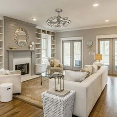 Living Room With Fireplace, Living Room Kitchen, Home Living Room, Living Room Designs, Living Room Ceiling Fan, Living Room With Windows, Dining Room, Kitchen Family Rooms, Kitchen Dining