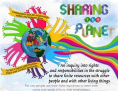 I LOVE the colors and flow of this IB Transdisciplinary Theme Poster for Sharing the Planet!|