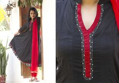 Kurtis for women - Kurta- Black Anarkali By Suvasa - PC - 1208 - 1