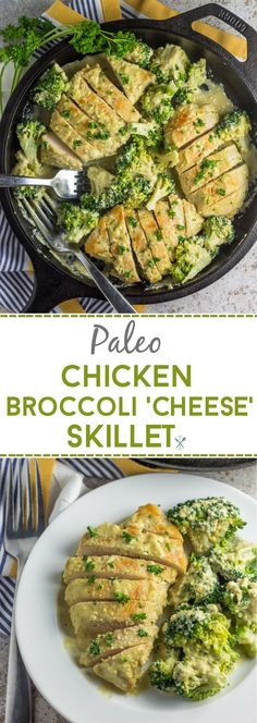 This dairy free, Whole30, paleo chicken broccoli 'cheese' skillet is the ultimate comfort food with a cashew-based cream sauce. A delicious dinner in under 30 minutes!