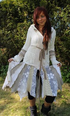 the lady zombie pirate rococo pixie gypsy hippie coat made of upcycled nittet sweaters in white cotton and crochet lace. €300,00, via Etsy.
