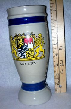 Bayern Ceramic Stein no handle holds approx .4 L new vintage very rare colorful