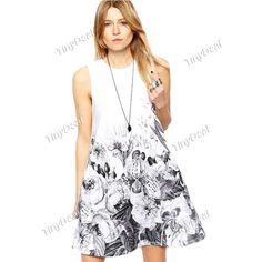 Casual Terylene Printing Crewneck Retro Style Knee-Length Sleeveless Dresses DCD-298182