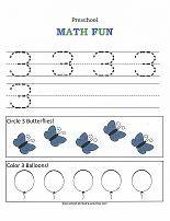 A variety of preschool number worksheets.