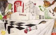 2-Point Surrealist Landscape Colored Pencil & Graphite