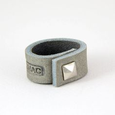 JAKIMAC VAULT:Gray Leather Ring with a Silver Spike by JAKIMACSHOP