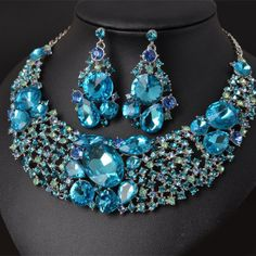 Crystal Jewelry Set Fashion Jewellery for blue crystal necklace sets
