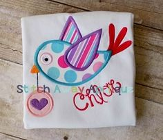 Valentine's Heart Messenger Bird Applique - 4 Sizes! | Valentine's Day | Machine Embroidery Designs | SWAKembroidery.com Stitch Away Applique