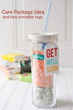 A cute way to tell some one that you are thinking of them. Make a cute Get Well Soon Care Package idea. Free printable Get Well Soon Cards