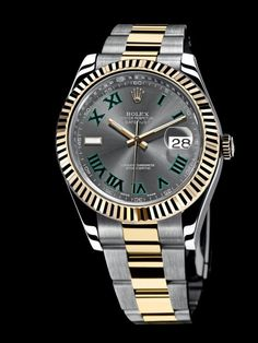 Rolex Datejust II with Gray Dial and Dark Green Roman Numerals