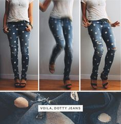 DIY pokadot jeans you can you white fabric paint to to this
