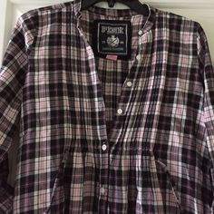 VS plaid button down with embellishments Embellishments at the bottom on the front only in pink clear and black. Buttons go all the way down, none missing. And wraps around with a string to tie. Cute with leggings or jeans! Victoria's Secret Tops Button Down Shirts