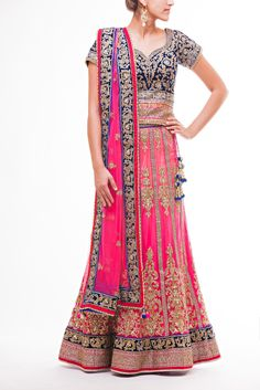 Beautiful Pink Ombre Lehenga with Deep Blue Velvet Choli with zardozi work and hundan highlights, paired with Pink Net Dupatta with Blue Embroidered Border
