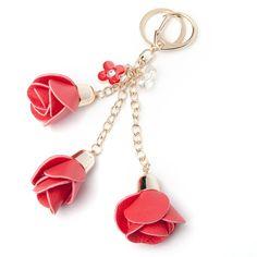 Gold Metal Keychain Leather Rose Flower Car Key Pendant Women Keyring Bag Charm