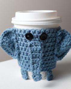 Crocheted Cuddly Elephant Coffee Cup Cozy by CuddlefishCrafts from CuddlefishCrafts on Etsy. Saved to Sole Gems. Crochet Coffee Cozy, Coffee Cup Cozy, Crochet Cozy, Cute Crochet, Crochet Crafts, Yarn Crafts, Diy Crafts, Hot Coffee, Yarn Projects