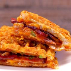 Tater Tot Grilled Cheese bacon sandwich waffle maker