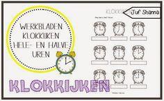 Juf Shanna: Klokkijken: werkbladen hele- en halve uren