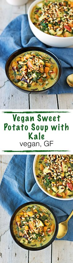 Be sure not to miss the new #vegan soup for #fall: A Vegan Sweet Potato #Soup with #Kale. Combining the richness of a potato soup with the healthy boost of kale. With fresh apples and a good amount of toasted pine nuts. What is better than this for a fall day?