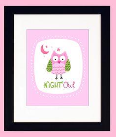 Night Owl Nursery Wall Art Print Pink by elissahudson
