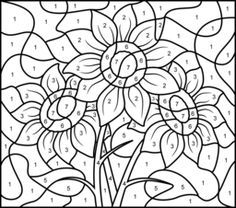 Sunflower - Printable Color by Number Page. Activity for child to use different colors by numbers. The OT asks child to read the color and show the corresponding part of the picture that should be that color. Adult Color By Number, Color By Number Printable, Color By Numbers, Paint By Number, Alphabet Coloring Pages, Free Coloring Pages, Coloring For Kids, Printable Coloring Pages, Coloring Books