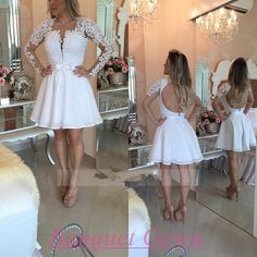 57c9532cb9b Modest White Homecoming Short With Lace Long Sleeves Homecoming Gowns 2016  Backless Prom Dress Sweet 16