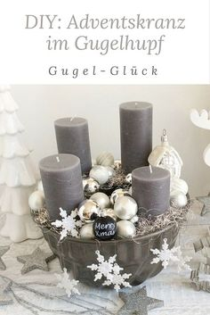 Modern Advent wreath in Gugelhupf! If you do not feel like a classic Advent wreath with the usual decoration, then you are exactly right. With this step-by-step guide, you can create your own personal, modern Advent wreath in the Gugelhupf form in no time Christmas Advent Wreath, Christmas Mood, Noel Christmas, Christmas Decorations, Create Your Own, Create Yourself, Decoration Table, Diy Wreath, Diy Crafts To Sell