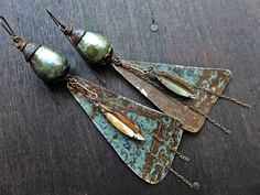 Rustic artisan handmade earrings. Mixed media assemblage jewelry by fancifuldevices