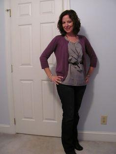 Purple cardigan with flowy grey belted shirt Purple Cardigan, Work Attire, Refashion, Style Me, Totes, Autumn Fashion, Chic, Grey, Fall