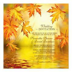 Autumn / Fall Wedding Invitation With Falling Leaves