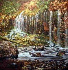 Painting: Mossbrae Falls, Waterfall Paintings by Shirley Reade