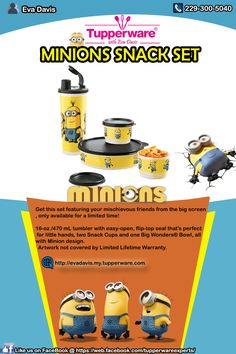 Tupperware Minions Snack Set great for back to school and being the cool kids in the lunch room.  Hurry! Grab yours now, Contact me directly for orders and reservations @ (229) 300-5040 VISIT my site @ http://evadavis.my.tupperware.com/ for more details. Like us on FaceBook @ https://web.facebook.com/tupperwareexperts/ #tupperware #consultant #Evastupperwareexperts #Minionssnackset #set #snack #kids #Wednesday