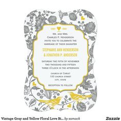 Vintage Gray and Yellow Floral Love Bird Wedding 5x7 Paper Invitation Card