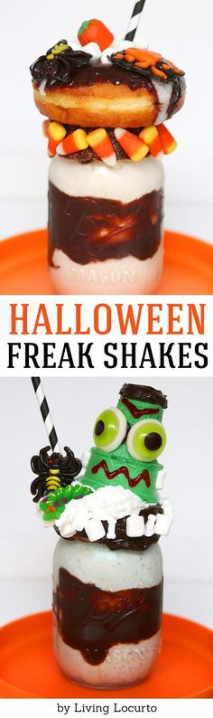 A Halloween milkshake is the perfect Halloween food for a creepy and fun school snack or Halloween party treat! These fun freak shakes are piled high with candy and donuts. Love this creepy Frankenstein Halloween ice cream dessert. Halloween Desserts, Postres Halloween, Creepy Halloween Food, Halloween Party Treats, Halloween Drinks, Halloween Candy, Halloween Halloween, Scary Food, Halloween Dishes