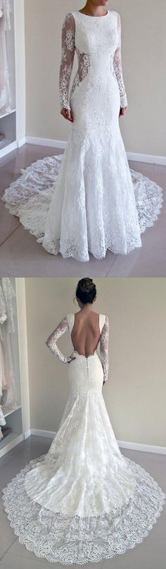 Long Sleeve Lace Backless Mermaid Wedding Dresses, 2018 Long Custom Wedding Gowns, Affordable Bridal Dresses #okbridal #weddingdresses