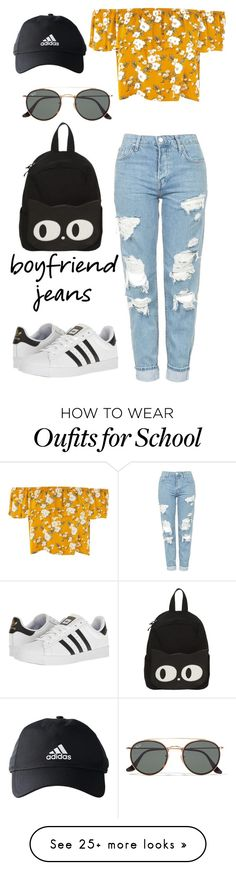 """""""Boyfriend Jeans"""" by brightheart593 on Polyvore featuring Topshop, adidas, Ray-Ban, denim and jeans"""
